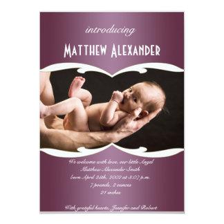 De paarse en Witte Aankondiging van het Baby van