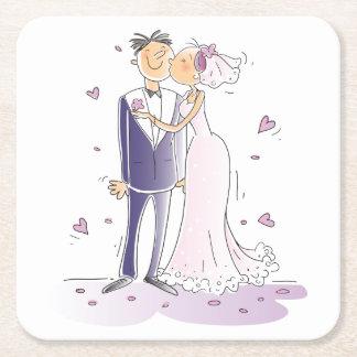 De paarse en Witte Cartoon van de Bruid & van de Vierkanten Viltjes