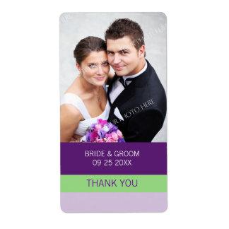 De paarse Etiketten van het Huwelijk van de Foto