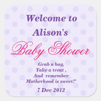 De paarse Gespikkelde Stickers van het Baby shower