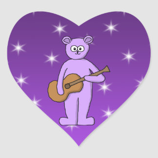 De paarse Gitarist draagt Hart Sticker