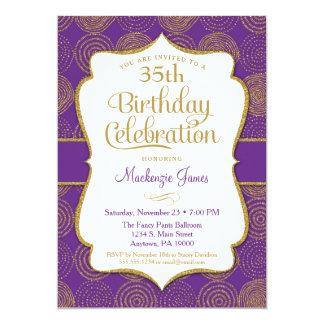 De paarse Gouden Volwassen Partij van de 12,7x17,8 Uitnodiging Kaart