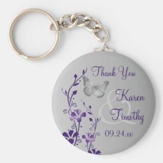 De paarse, Grijze BloemenGunst van het Huwelijk va Basic Ronde Button Sleutelhanger