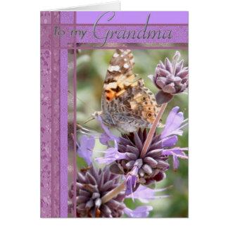 De paarse Kaart van de Kleur met Butterly voor Oma