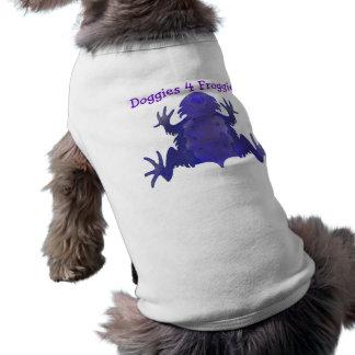 De paarse Kleren van de Hond van de Kikker Mouwloos Hondenshirt