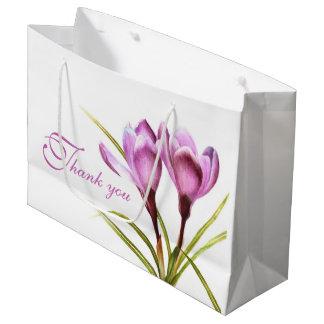 De paarse kunst van de krokuswaterverf dankt u groot cadeauzakje