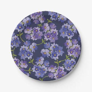 De paarse & Marineblauwe BloemenBorden van het Papieren Bordje