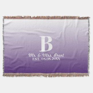 de paarse monogrammen van de zomer lila ombre deken
