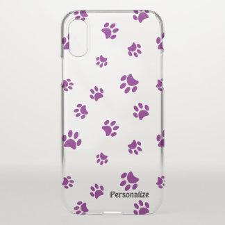 De paarse Poot drukt Patroon iPhone X Hoesje