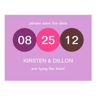 De paarse roze aankondiging van het punthuwelijk briefkaart