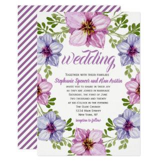 De paarse Roze BloemenUitnodiging van het Huwelijk Kaart