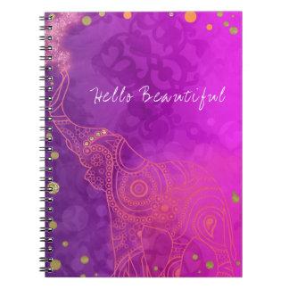 De Paarse Roze Oranje & Gouden Elegante Douane van Ringband Notitieboek