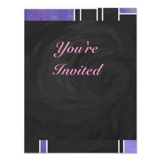 De Paarse Roze Zwarte Druk van Mondrian 10,8x13,9 Uitnodiging Kaart