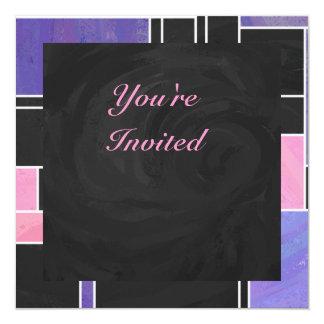 De Paarse Roze Zwarte Druk van Mondrian 13,3x13,3 Vierkante Uitnodiging Kaart