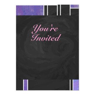 De Paarse Roze Zwarte Druk van Mondrian 13,9x19,1 Uitnodiging Kaart