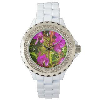 De paarse Samenvatting van Alaska Wildflower van Horloge