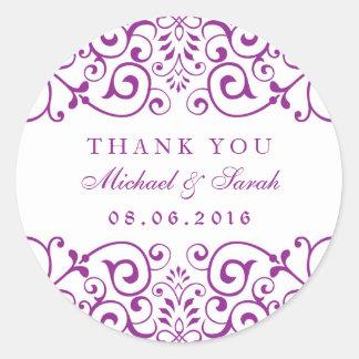 De paarse Vintage Werveling Bloemen dankt u Ronde Stickers