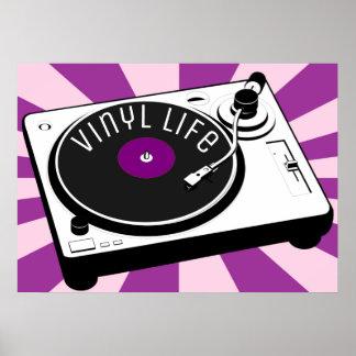 De paarse Vinyl Retro Draaischijf van het Leven Poster