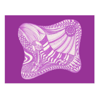 De paarse witte abstracte tekening van Zentangle, Wens Kaart