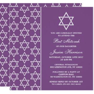 De paarse & Witte Joodse Knuppel Mitzvah van de Kaart