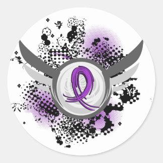 De paarse Ziekte van het Lint en van Alzheimer van Ronde Sticker