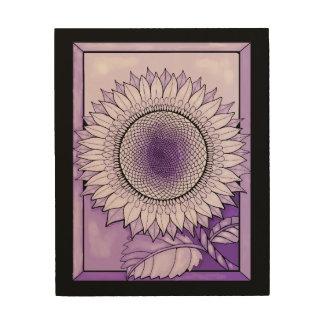 De paarse Zonnebloem van de Regen Hout Afdruk
