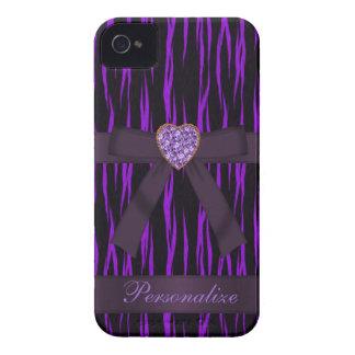 De paarse & Zwarte Dierlijke Boog van de Druk & iPhone 4 Hoesje