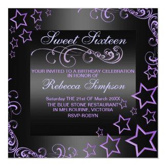 De paarse/Zwarte Verjaardag van de Ster Sweet16 & 13,3x13,3 Vierkante Uitnodiging Kaart