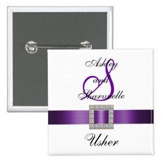 De paarse, Zwarte, Witte Speld van Usher Vierkante Button 5,1 Cm