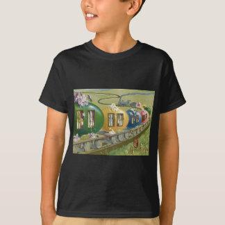 De paashaas Gekleurde Trein van de Kooi van het Ei T Shirt