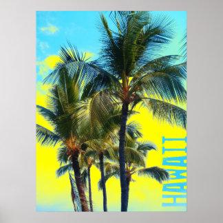 De palm geel poster van Hawaï