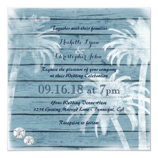 De palmen, Huwelijk van het Strand van de Dollars 13,3x13,3 Vierkante Uitnodiging Kaart