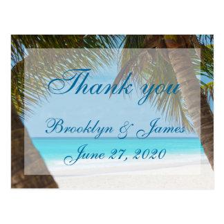 De palmen op het Huwelijk van het Strand danken u Briefkaart