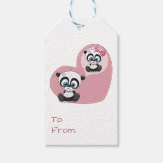 De panda draagt de Roze Partij van het Huwelijk Cadeaulabel