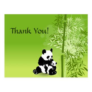 De panda draagt en het Bamboe dankt u Briefkaart