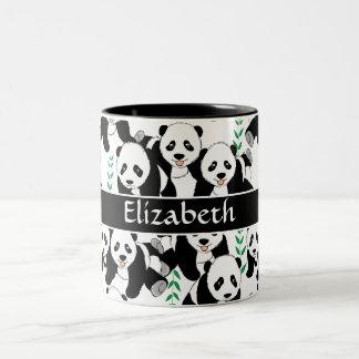 De panda draagt Grafisch Te personaliseren Patroon Tweekleurige Koffiemok