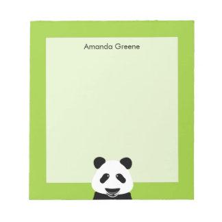 De panda draagt Moderne Gepersonaliseerd Groen Notitieblok