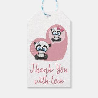 De panda draagt Roze Hart dankt u de Partij van Cadeaulabel