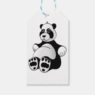 De Panda van de cartoon draagt Gevuld Dier Cadeaulabel