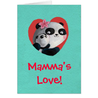 De Panda van de moeder met Baby Briefkaarten 0