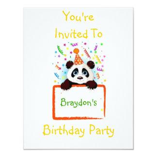De Panda van de verjaardag 10,8x13,9 Uitnodiging Kaart