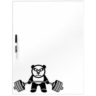 De Panda van het gewichtheffen draagt Cartoon Whiteboard