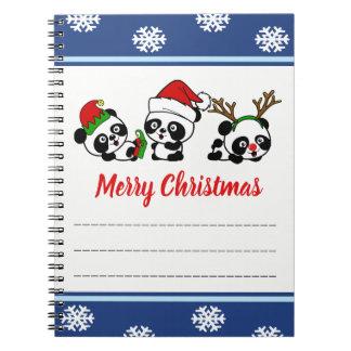 De Panda's van Kerstmis Ringband Notitieboek