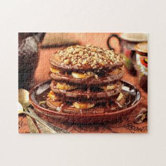 De Pannekoeken van de chocolade met Bananen en Kar Legpuzzel