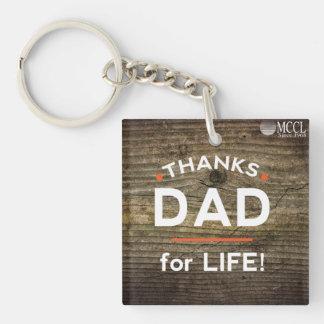 De Papa van het bedankt voor het Leven keychain 1-Zijde Vierkante Acryl Sleutelhanger