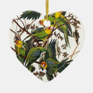 De Papegaai van Carolina - John James Audubon Keramisch Hart Ornament