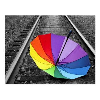De Paraplu van de regenboog op Trein volgt Briefkaart