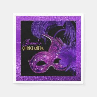 De partij paars masker van Quinceañera van de Papieren Servetten