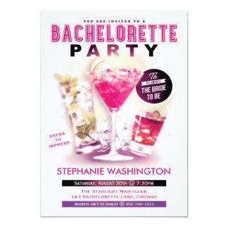 De Partij Roze Martini van de vrijgezellin en 12,7x17,8 Uitnodiging Kaart