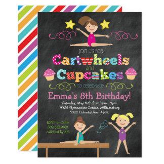 De Partij van de Gymnastiek van Cartwheels & van 12,7x17,8 Uitnodiging Kaart